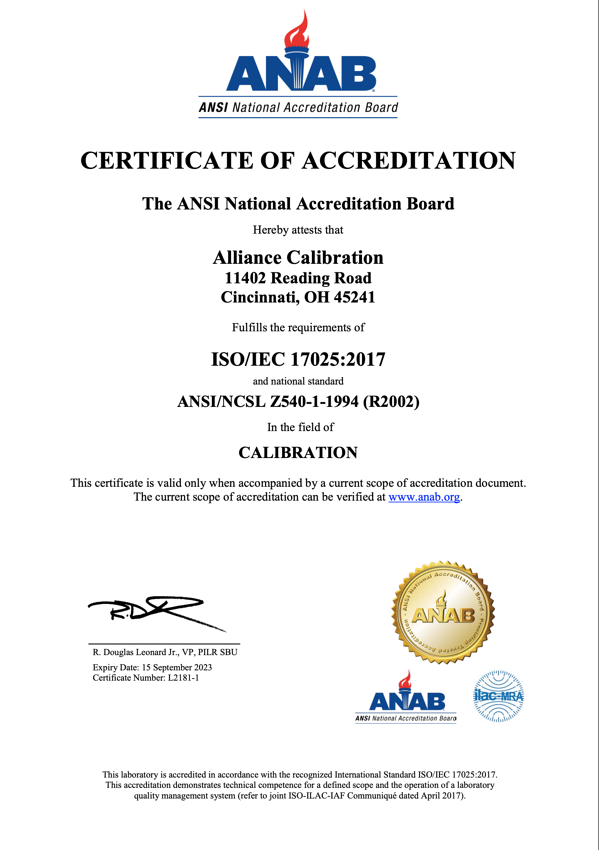 ANAB Certificate Alliance Calibration July 2020