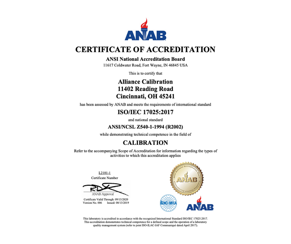 alliance calibration ISO17025 2017 accredited certificate