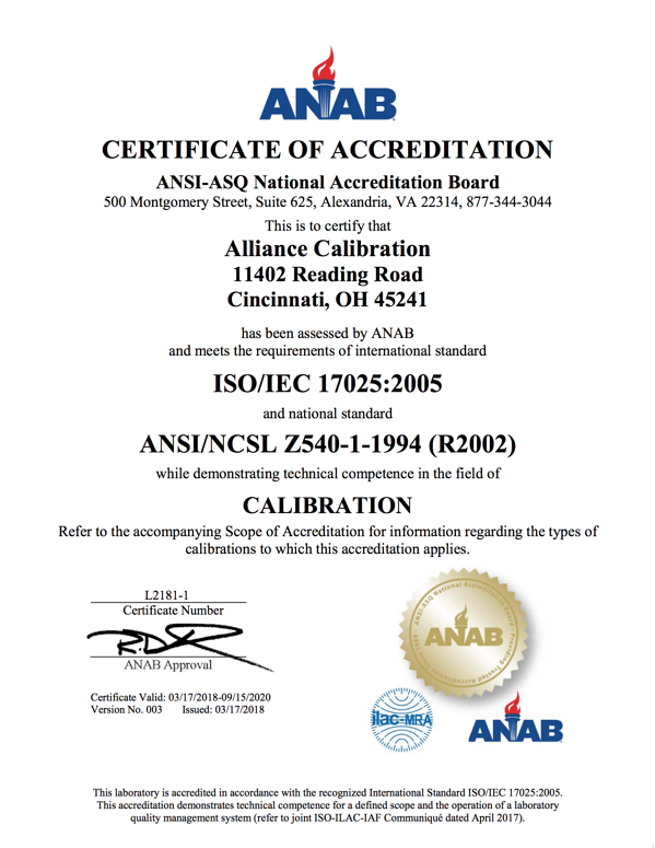 certificate of accreditation alliance calibration