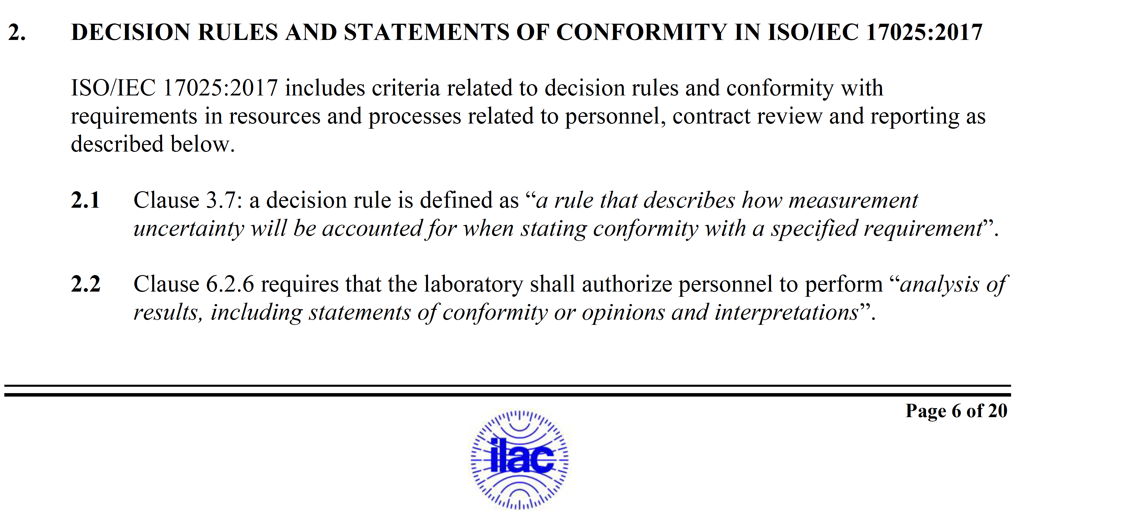 decision rules and statements of conformity_ILAC